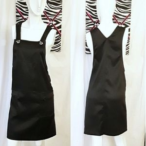 Marie Claire vintage black overall button dress